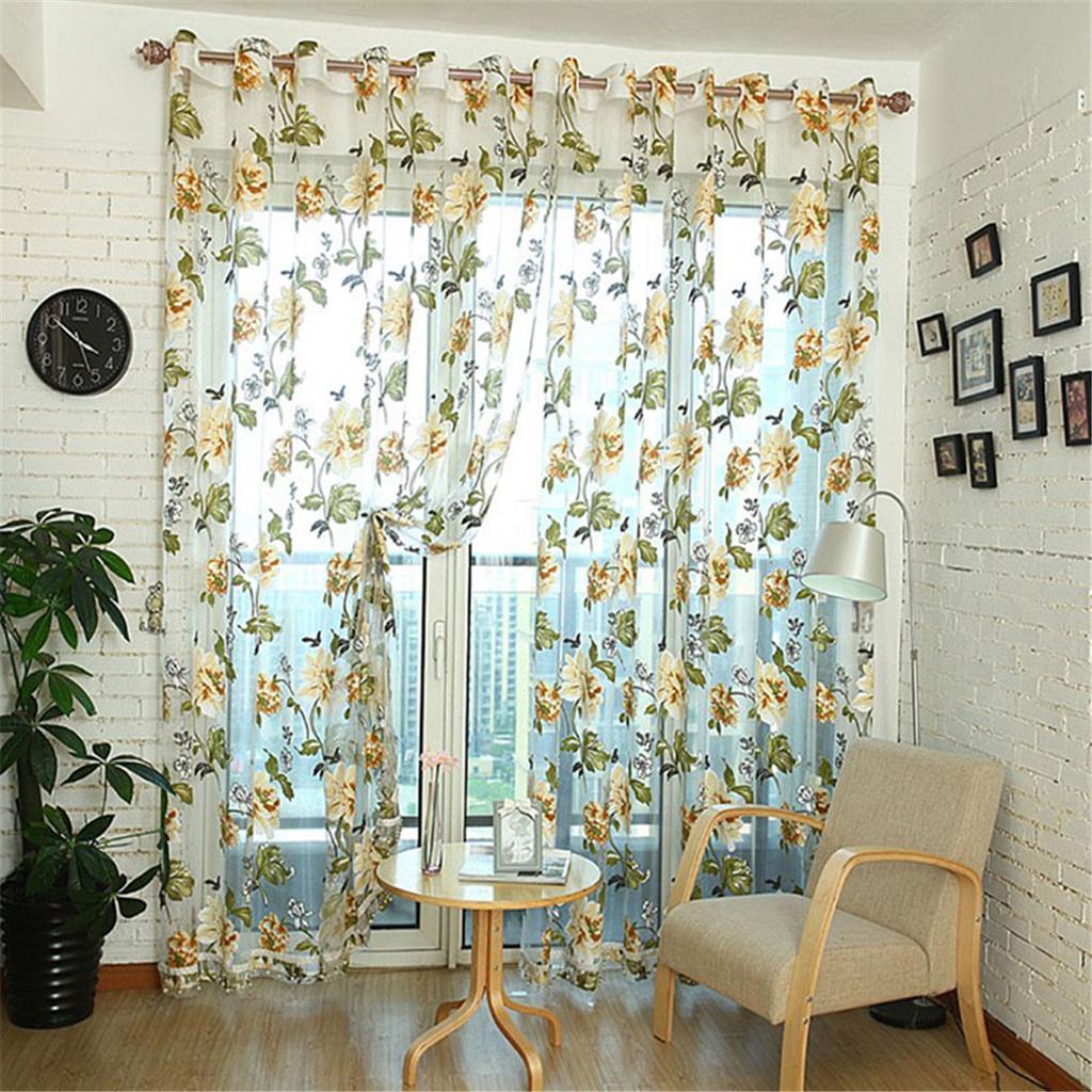 100cm x 200cm flower window sheer curtain home living room decoration tulip flower scarf sheer voile door window curtain drape panel valances