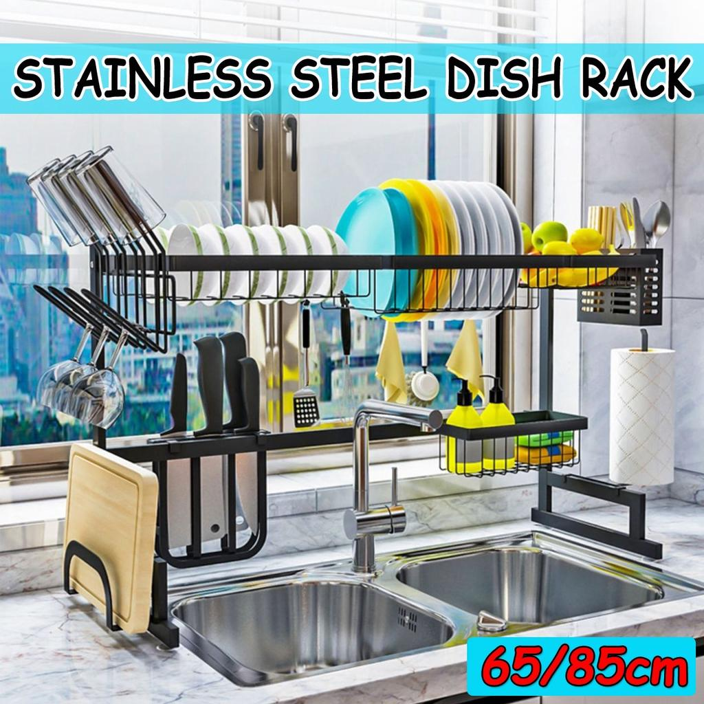 single double slots over sink stainless steel kitchen shelf storage holders bowl dish drain rack organizer buy at a low prices on joom e commerce