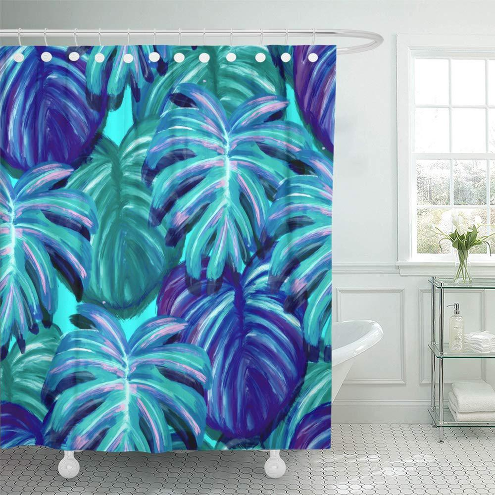teal tropical leaf design featuring green blue sketch palm and monstera plant leaves shower curtains 66x72inch 165x180cm