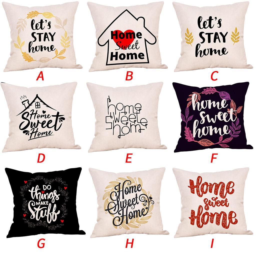 sweet home cotton linen square throw pillow cases home decor sofa cushion cover