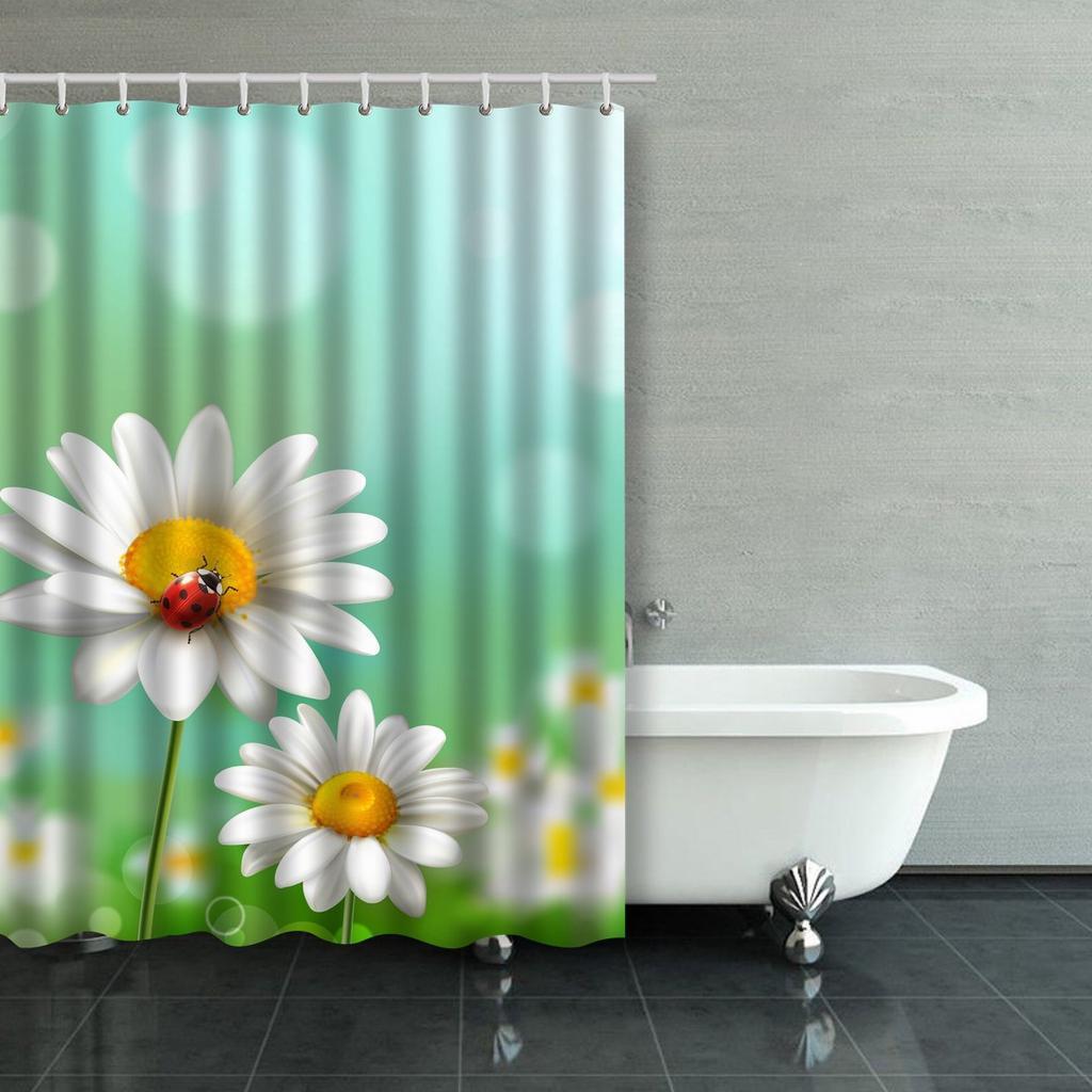 summer meadow with realistic daisy flower and ladybug illustration shower curtain bathroom curtain 48x72inch 120x180cm