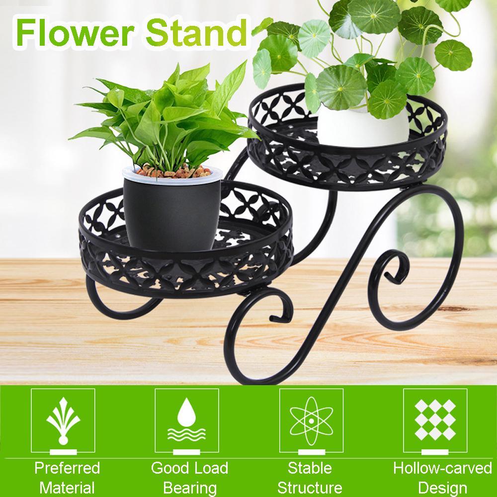 2 tier metal shelves holder flower pot plant stand shelf display indoor outdoor garden home patio