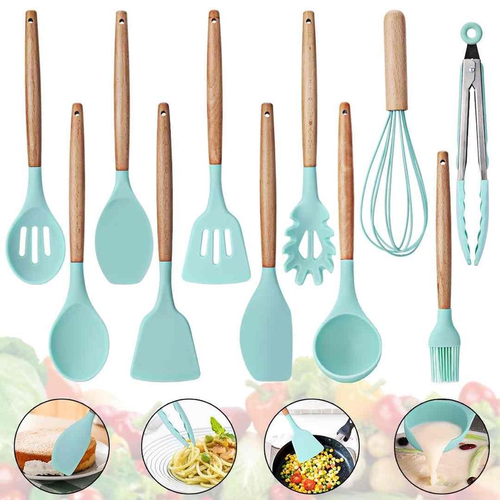 Buy 11pcs Silicone Kitchen Utensils Set Nonstick Cooking Baking Tool Pots Pans Spoon At Affordable Prices Free Shipping Real Reviews With Photos Joom