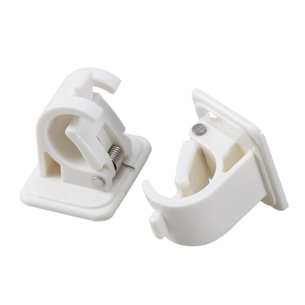 a pair easy to install plastic round rod hook curtain rod pole holder rod clamp with 3m stickers
