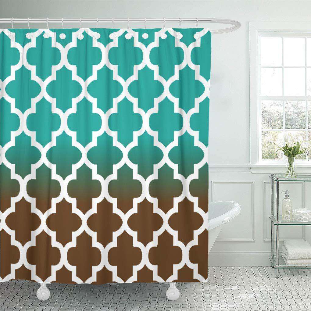 teal geometric turquoise and brown quatrefoil pattern trellis moroccan shower curtain 60x72inch 150x180cm