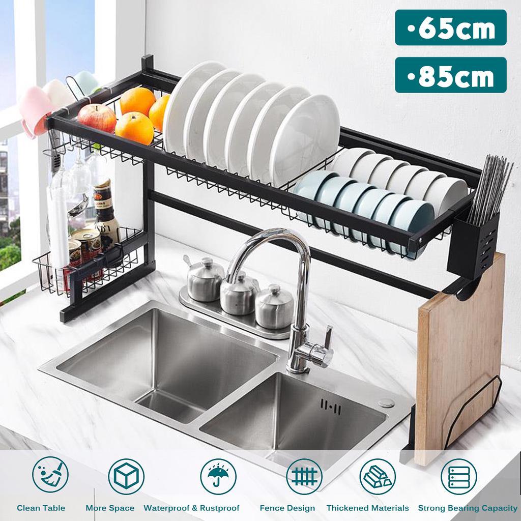65 85cm stainless steel metal kitchen shelf organizer dishes drying rack over sink drain rack kitchen storage countertop utensils holder