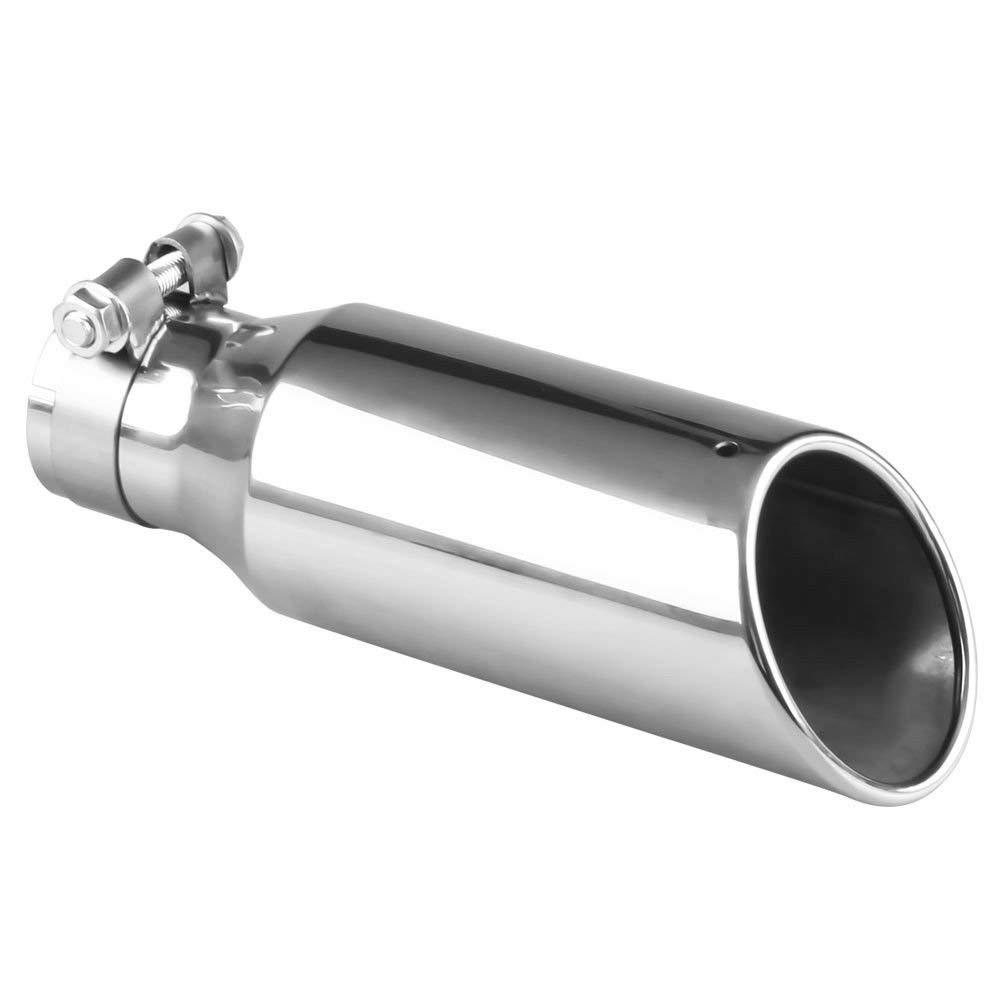 exhaust muffler pipe stainless steel silencer tail tip silver universal 2 5 inlet 3 outlet buy at a low prices on joom e commerce platform