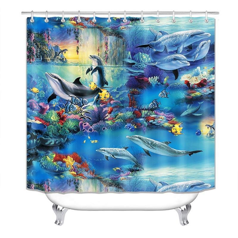 ocean dolphin sea shower curtain polyester waterproof curtains bathroom pedestal rug lid toilet cover bath mat set
