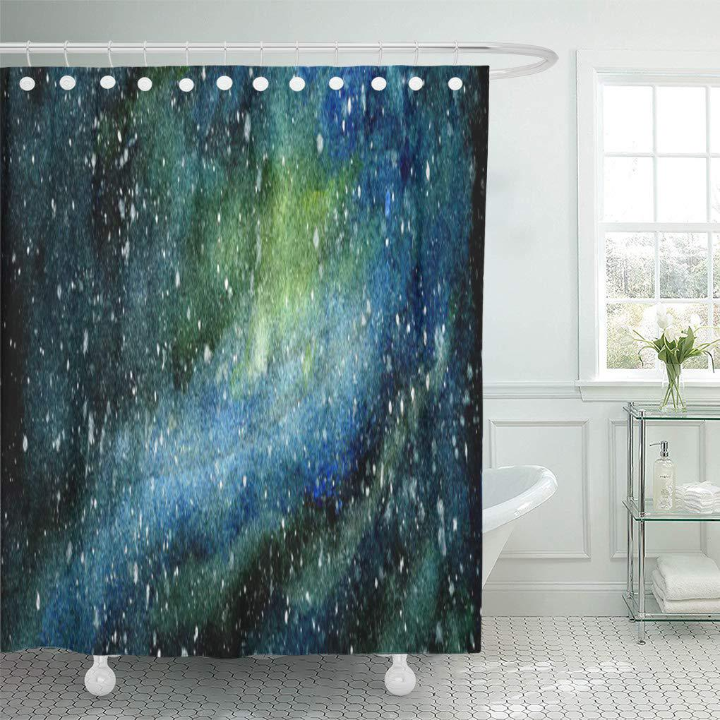 blue space stars galaxy original watercolor fine green nebula shower curtain 60x72inch 150x180cm