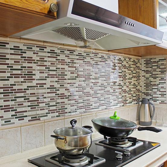 4pcs home decor 3d tile pattern kitchen backsplash stickers mural wall decals