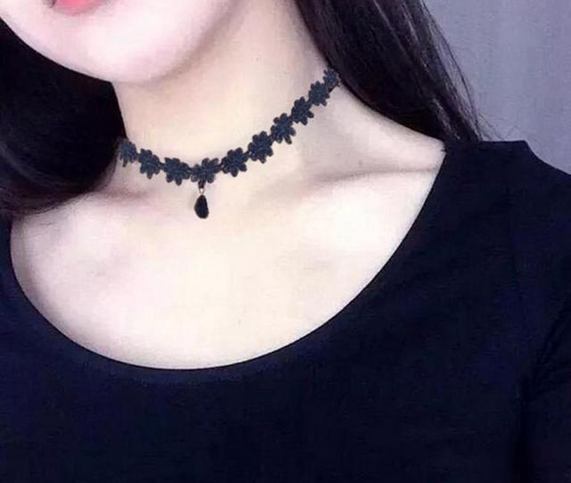 Women Sexy Flower Water Droplets Clavicular Chain Lace Jewelry