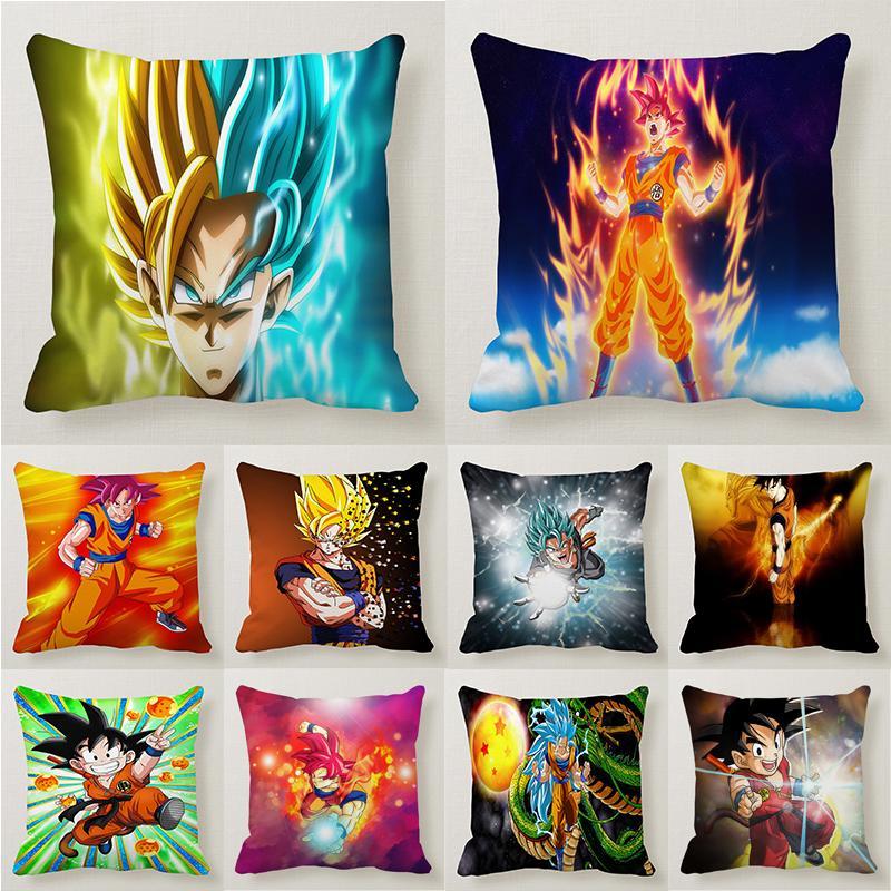 home decor dragon ball z pillowcase bedroom kissen goku printed cushion cover super saiyan sofa pillow case free shipping