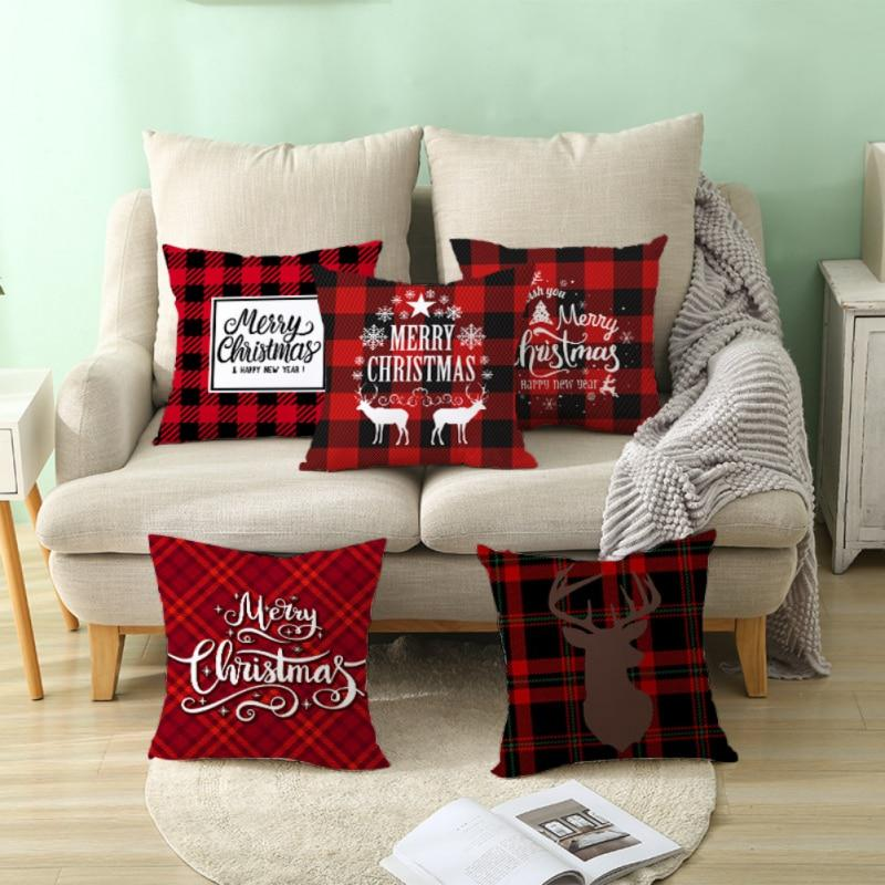 17 7in double sided decorative christmas theme checked throw pillow case red green black plaid cushion cover for sofa car home