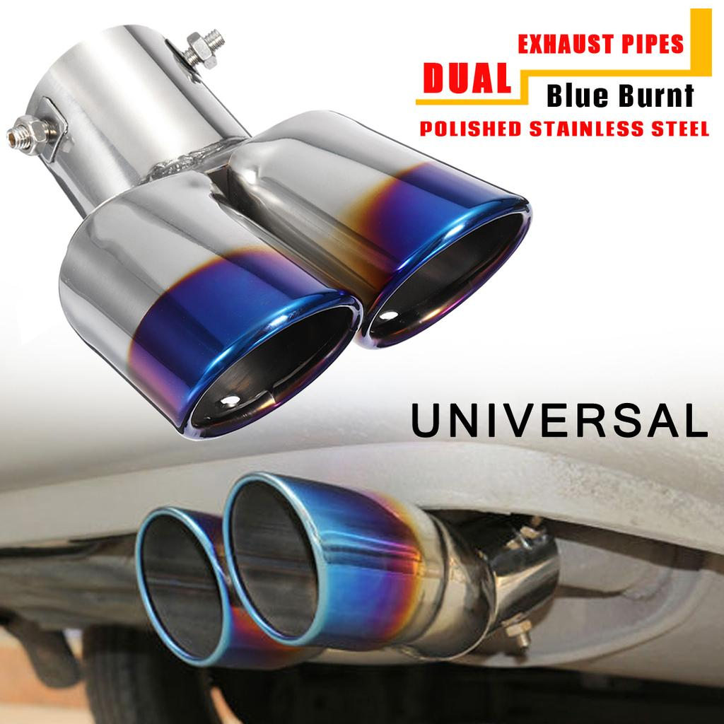 car decoration chrome tail pipe stainless steel curved dual outlet exhaust trim muffler pipe tail