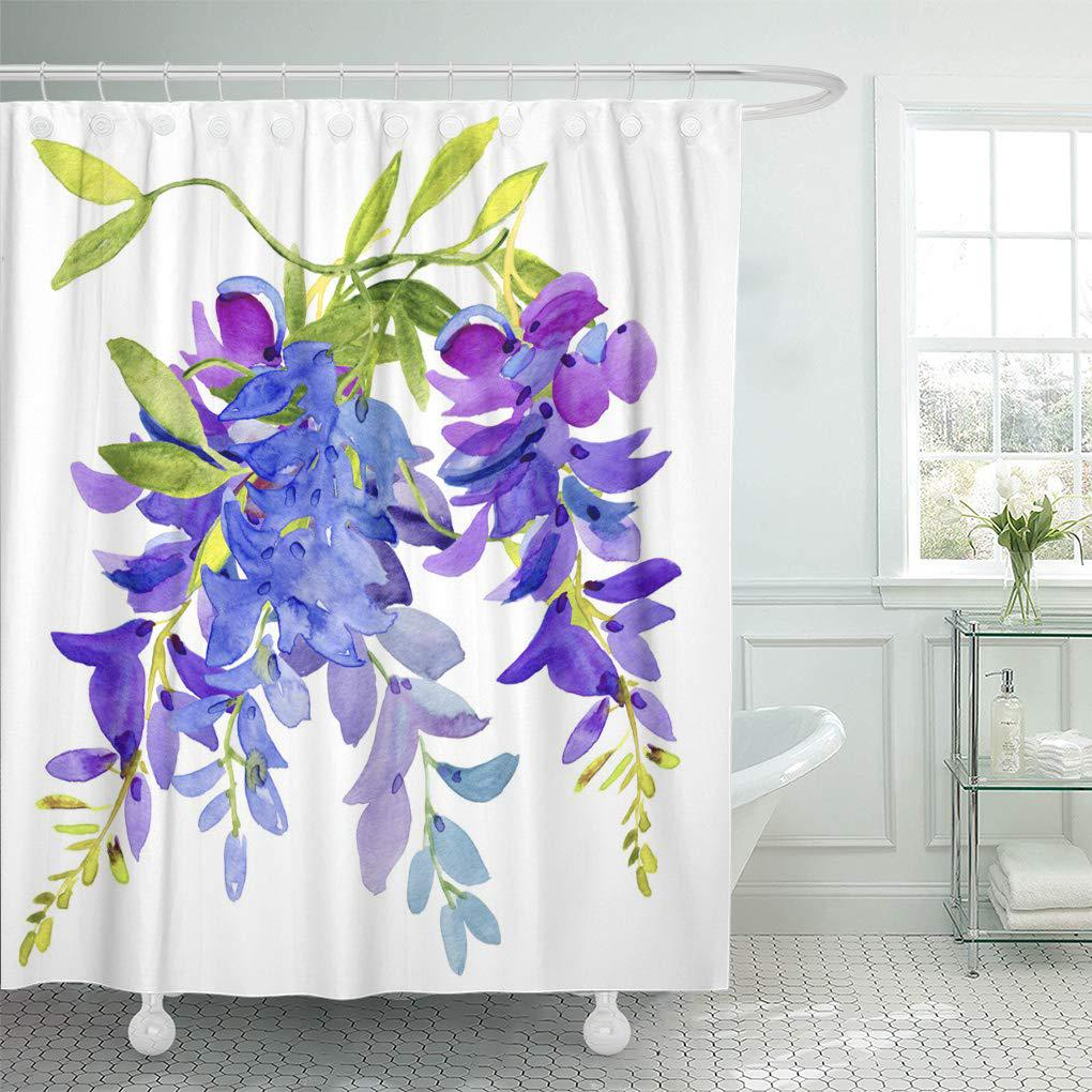 purple watercolor lilac blue flowers wisteria floral abstract green shower curtain 60x72inch 150x180cm