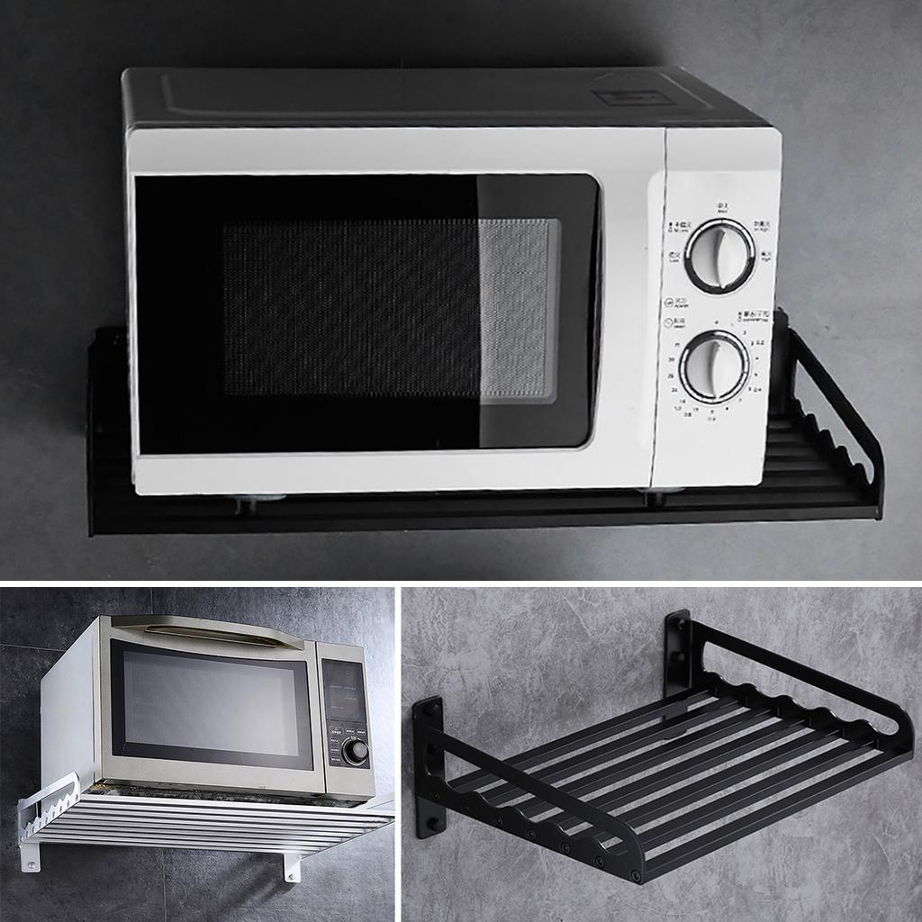 black silver wall mounted electric aluminum microwave oven rack shelf rack bracket kitchen holder bracket storage goods