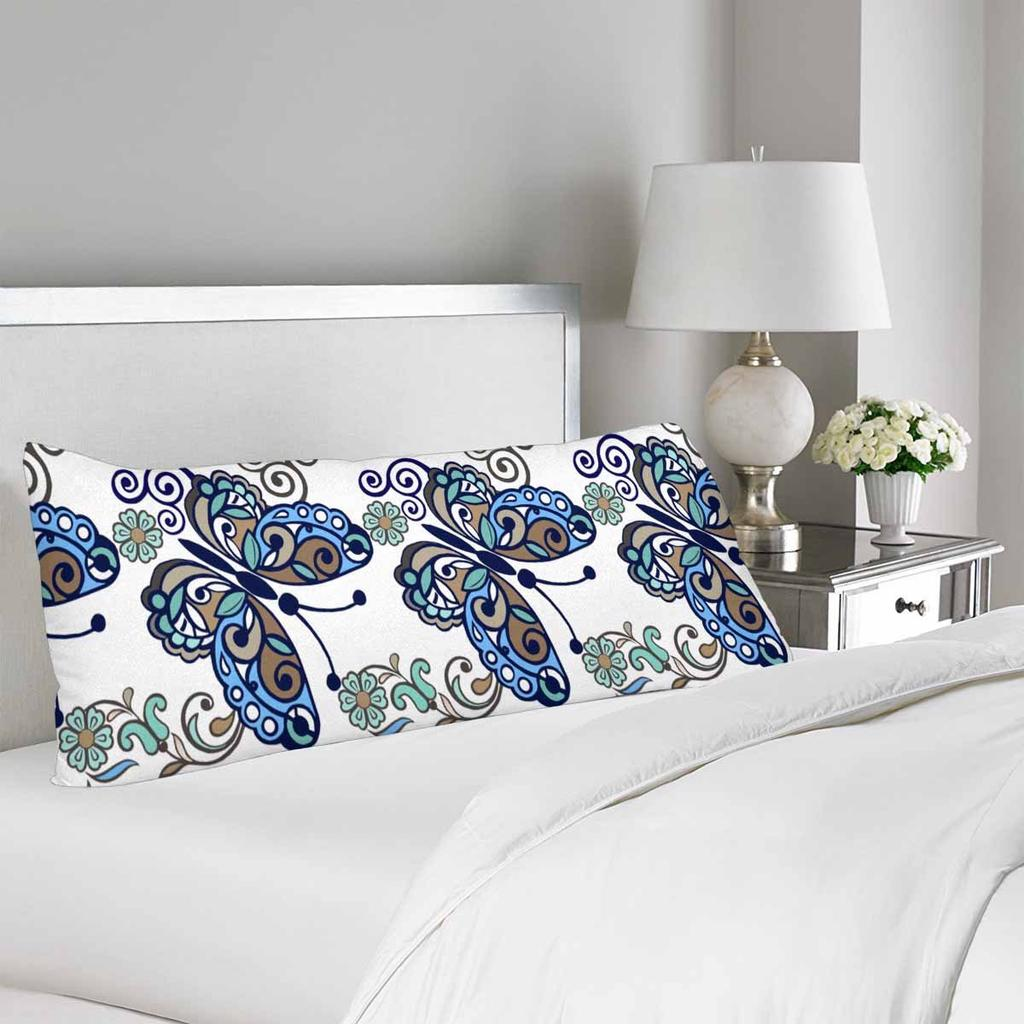 striped floral butterfly body pillow cover case 20x60inch 50x150cm vintage flower blue body pillow case