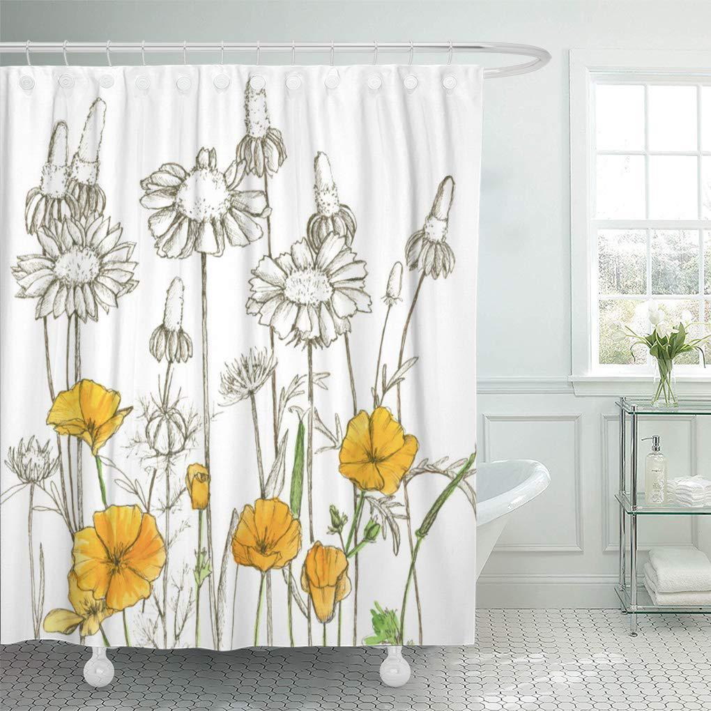 brown california orange poppy flowers plant green poppies botanical shower curtain 66x72inch 165x180cm
