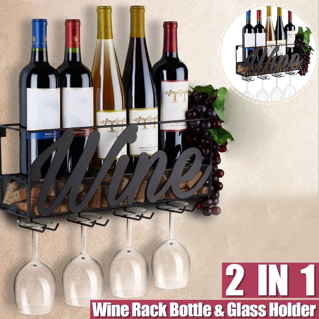 wall mounted iron wine rack wine bottle holder with glass holder family bar decoration buy at a low prices on joom e commerce platform