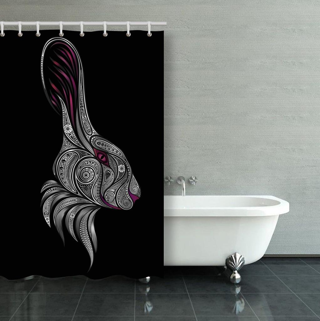 the figure of the white rabbit to the story of alice in wonderland shower curtain bathroom curtain 36x72inch 90x180cm