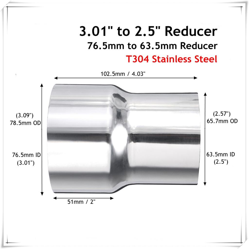 3 to 2 5 od stainless standard exhaust pipe connector adapter reducer tube
