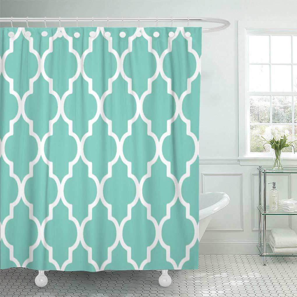 blue large moroccan pattern turquoise big trellis geometric shower curtain 60x72inch 150x180cm