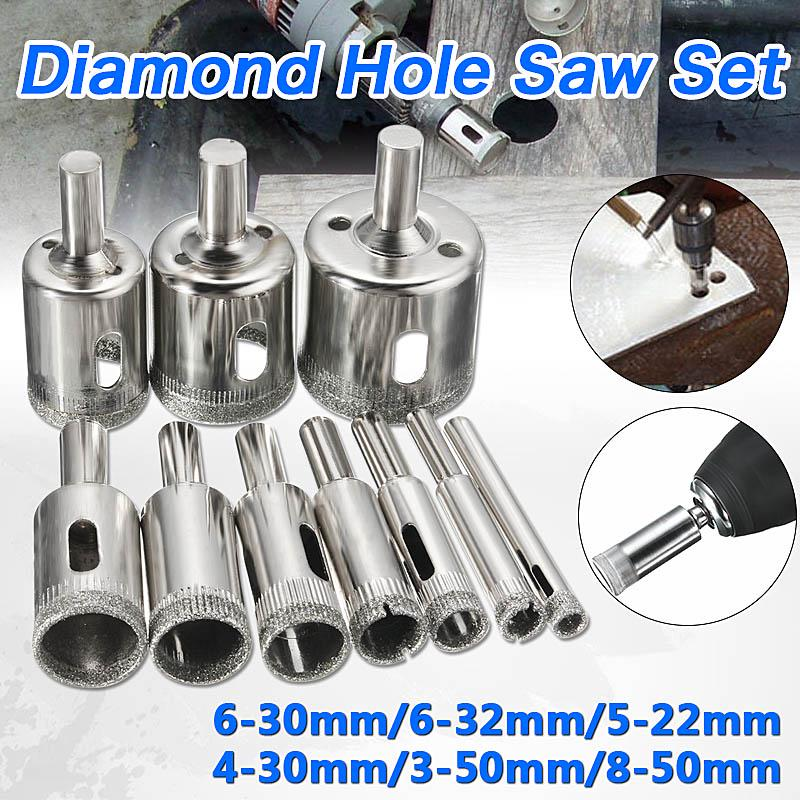 10 pcs 3 50mm diamond drill bit set use for glass tile marble granite core hole saw drill bits electric drilling tool