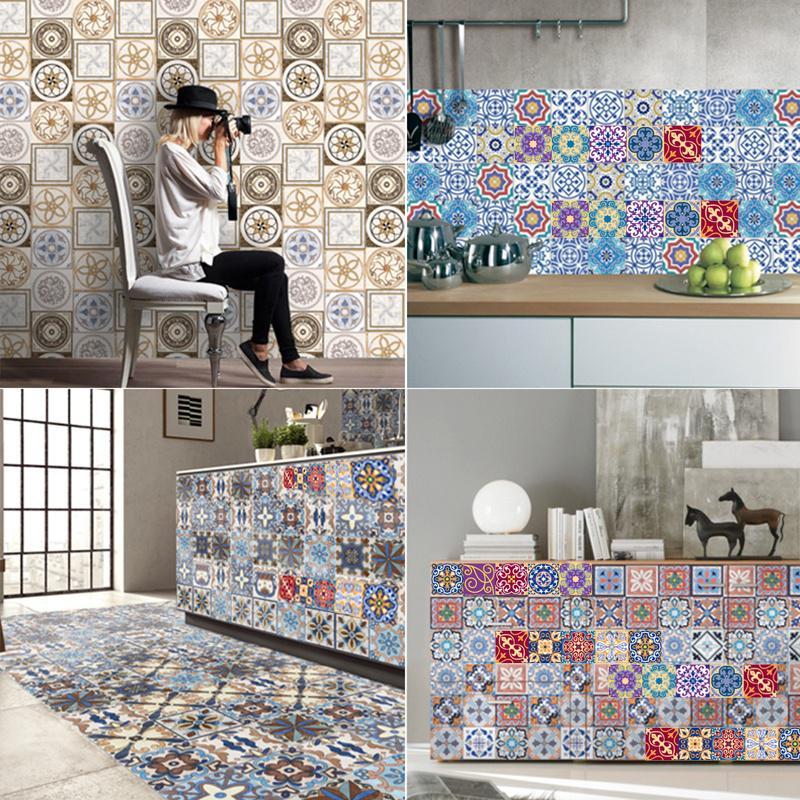 decoration self adhesive kitchen wall floor decor tile stickers vinyl 3d art