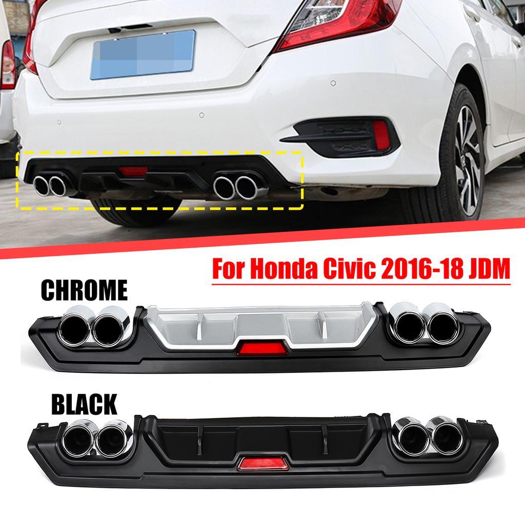 turbo rear lower bumper diffuser w dual exhaust tip for honda civic 16 18 jdm