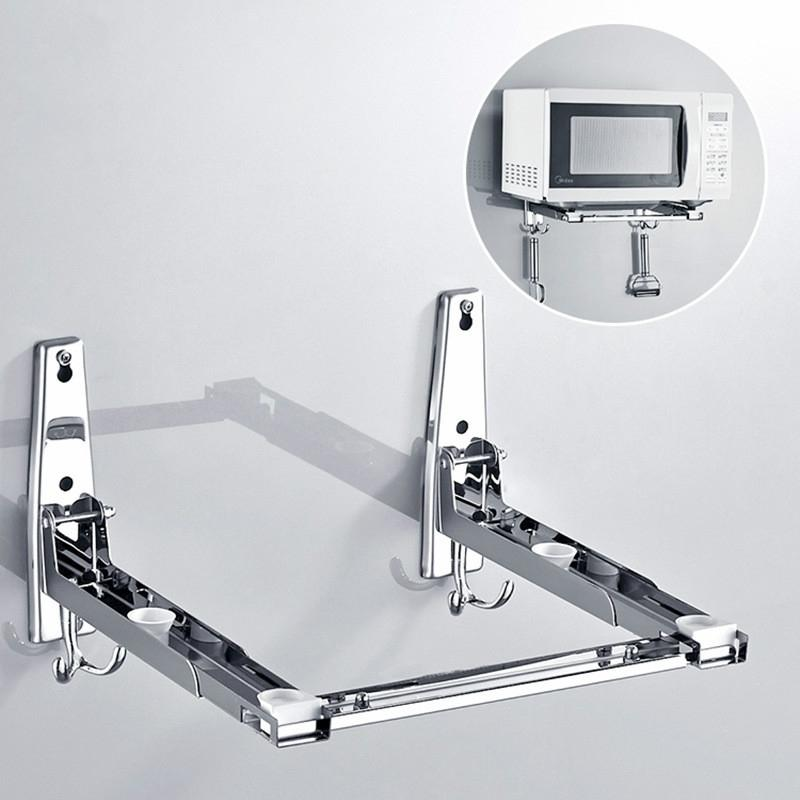 304 stainless steel microwave oven rack wall mounted kitchen retractable bracket rack thickening buy at a low prices on joom e commerce platform