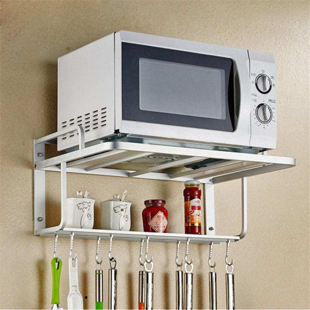 aluminum microwave oven rack wall mount microwave kitchen desktop organizer racks 2 layer oven stand kitchen storage with hooks buy at a low prices on