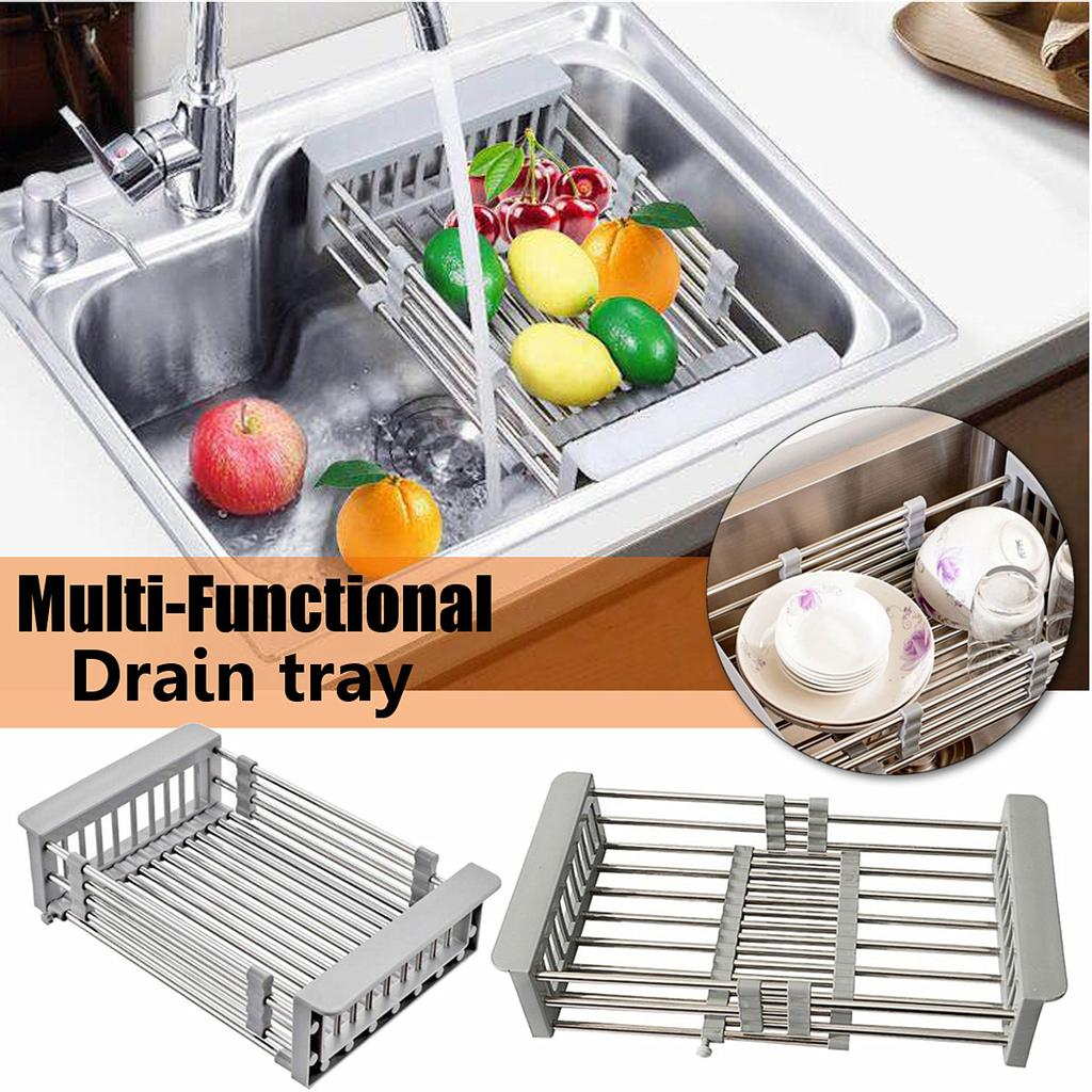 stainless steel dish drying rack over sink kitchen organizer drain basket drip collection shelf drainer organizer kitchen accessories buy at a low