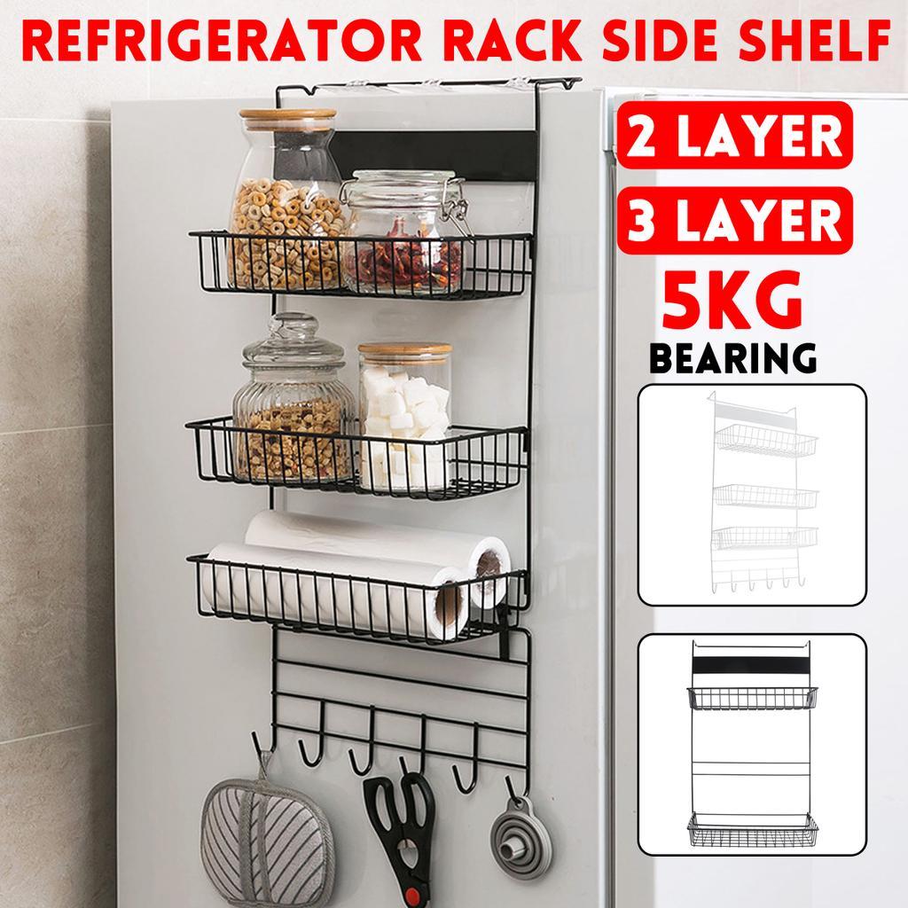 2 styles 2 3 layer multi functional refrigerator rack fridge side shelf multi layer sidewall holder kitchen supplies organizer household hanging hook