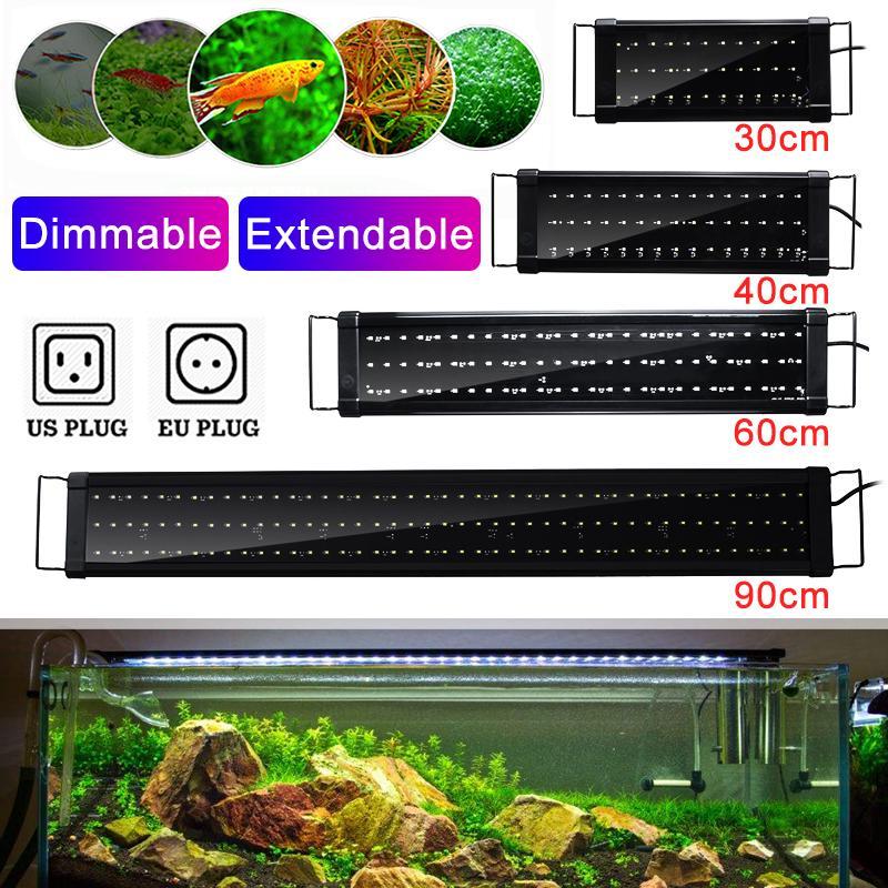 30 40 60 90cm super slim leds aquarium lighting aquatic plant light extensible waterproof clip on lamp for 40 130cm fish tank buy at a low prices on