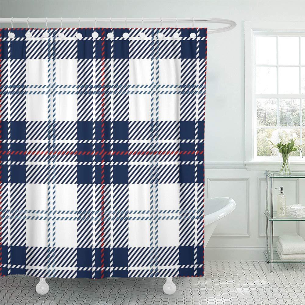 red abstract blue white scottish woven tartan plaid checkered clan culture bath shower curtain 66x72inch 165x180cm
