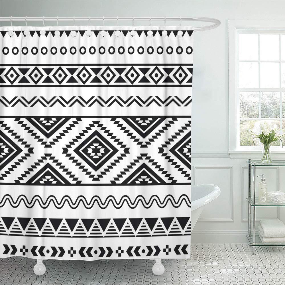 border tribal aztec black signs on white mexican mexico peruvian zigzag bath shower curtain 66x72inch 165x180cm