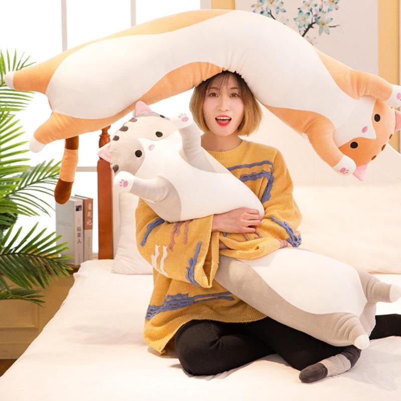 cartoon cat long pillow plush toy soft stuffed sleeping pillow sleeping kids pillow decor f3j5 buy at a low prices on joom e commerce platform