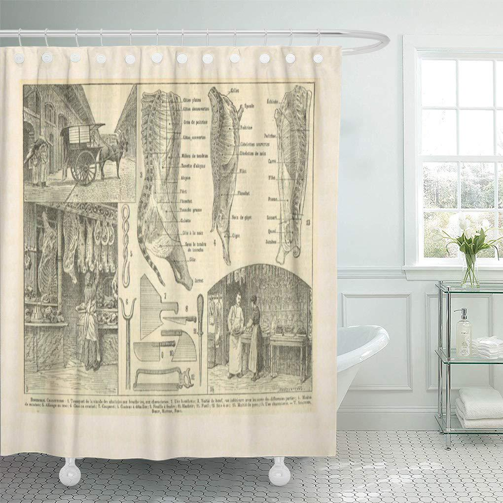 france vintage french food butcher cuts shower curtain 66x72inch 165x180cm