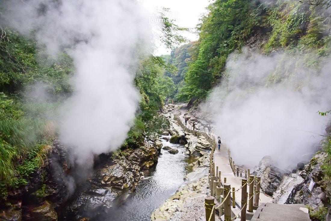 秋田,湯澤,小安峽,大噴湯,紅葉,東北,日本,景點