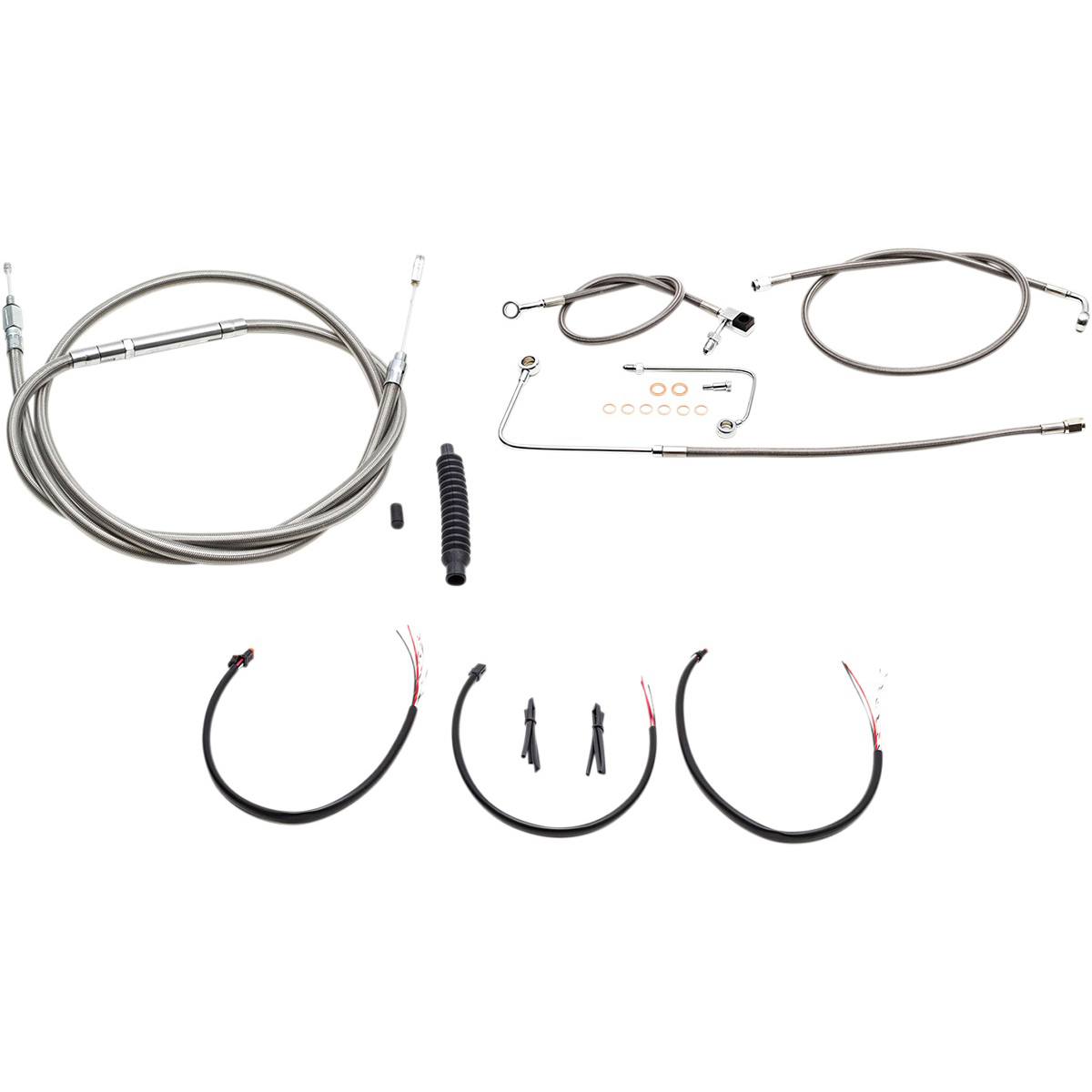 La Choppers Stainless Complete Cable Line Wiring Handlebar Kit For 15 17 Bars On Models With