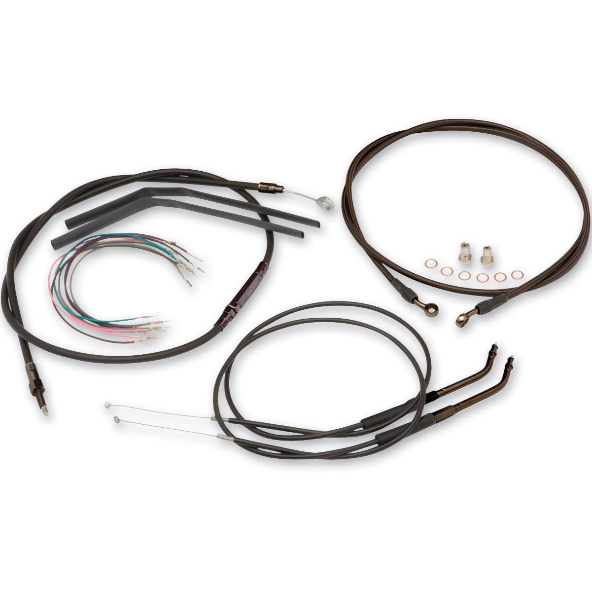Burly Brand Black 12 Ape Hanger Cable Brake Kit