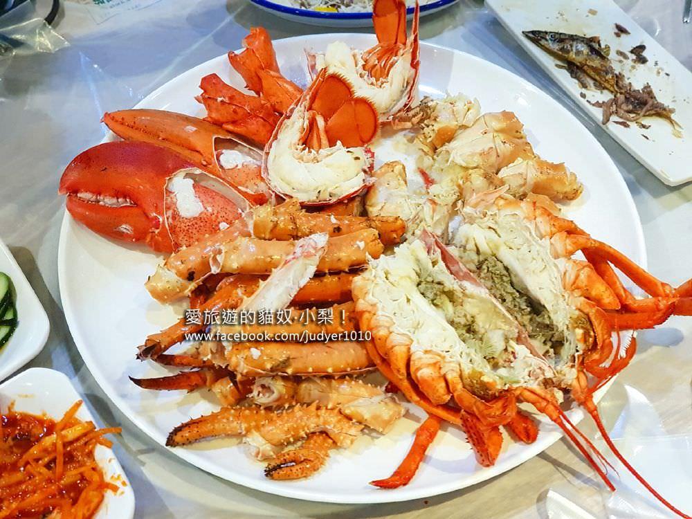 釜山美食\海神海鮮餐廳,帝王蟹、龍蝦現點現蒸、原汁原味超鮮甜、價錢透明,不用大老遠跑去機張吃海鮮!