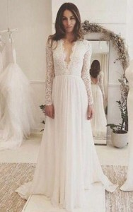 Long Sleeved Wedding Gowns  Bridals Dress with Sleeves   June Bridals V neck Long Sleeves Backless Ivory Chiffon Wedding Dress with Lace