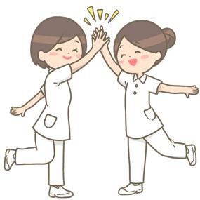 ハイタッチをする看護師のイラスト🎨【フリー素材】|看護roo![カンゴルー]