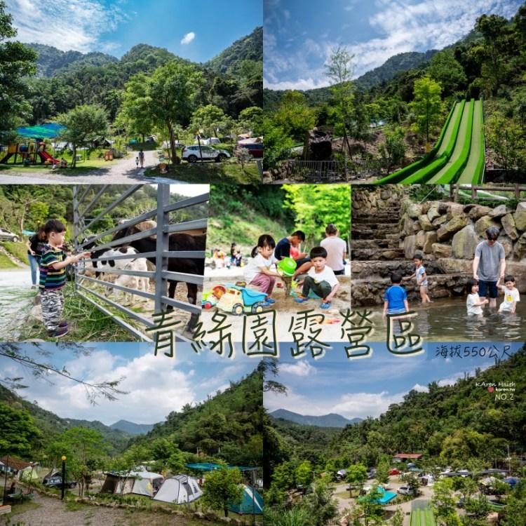 青綠園 | 孩子的天堂:滑草道、戲水池、溜滑梯、沙坑、餵羊、釣魚,南投魚池親子露營區(NO.2)