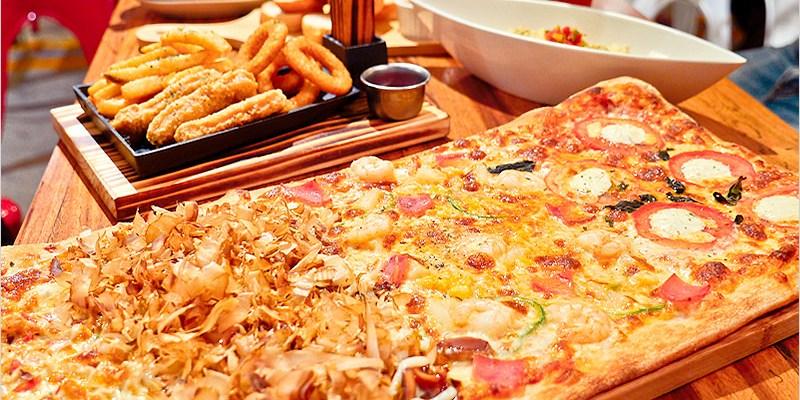 豐原美食   披薩工廠Pizza Factory(豐原店)-大四喜披薩快樂分享餐,份量夠吃、價位平價,來店打卡就送特調飲品。網美不能錯過的乾燥花牆。