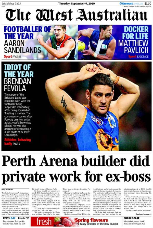 Newspaper The West Australian (Australia). Front pages ...
