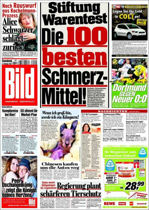 Newspaper Bild Germany Front pages from newspapers in