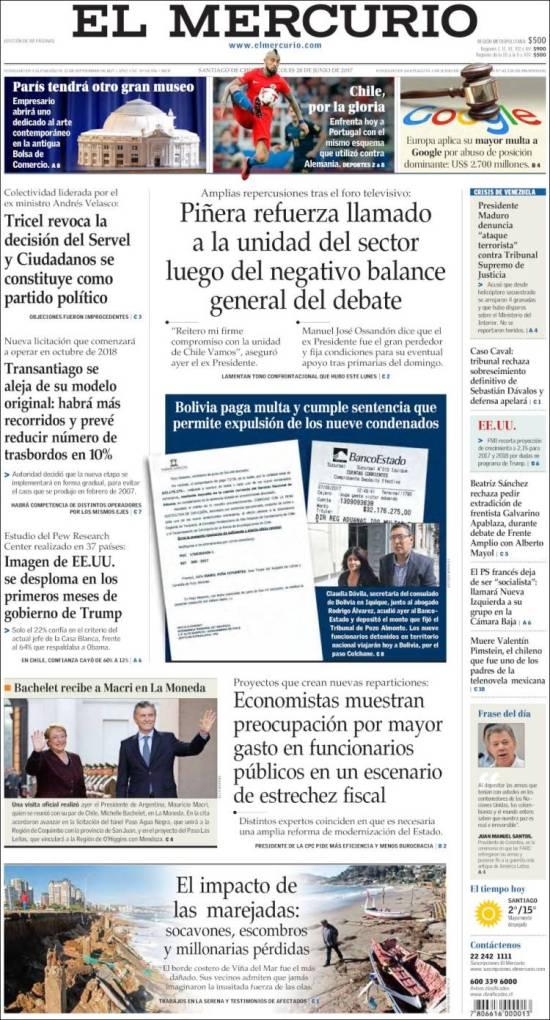 Portada de El Mercurio (Chile)