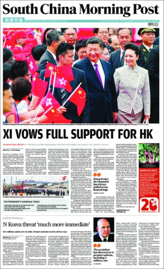 Portada de South China Morning Post (China)